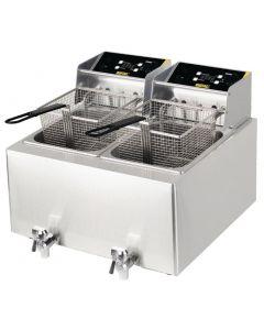 Buffalo 6kW Double Tank Countertop Fryer 2x8Ltr