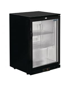 Polar Back Bar Cooler with Hinged Door in Black 198Ltr