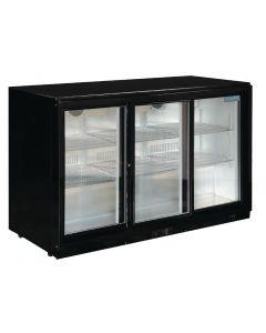Polar Back Bar Cooler with Sliding Doors in Black 330Ltr