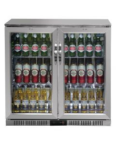 Polar Back Bar Cooler with Hinged Doors in Stainless Steel 208Ltr
