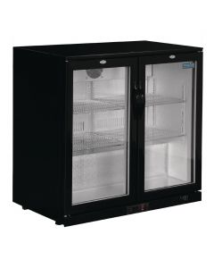 Polar REFRIGERATED Double Hinged Door Back Bar Cooler 850mm - Black