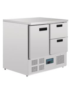Polar 1 Door and 2 Drawer Counter Fridge 240Ltr